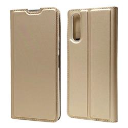 Ultra Slim Card Magnetic Automatic Suction Leather Wallet Case for Sony Xperia 10 II - Champagne