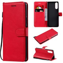 Retro Greek Classic Smooth PU Leather Wallet Phone Case for Sony Xperia 10 II - Red