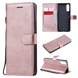 Retro Greek Classic Smooth PU Leather Wallet Phone Case for Sony Xperia 10 II - Rose Gold