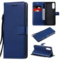Retro Greek Classic Smooth PU Leather Wallet Phone Case for Sony Xperia 10 II - Blue