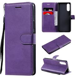 Retro Greek Classic Smooth PU Leather Wallet Phone Case for Sony Xperia 10 II - Purple