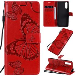Embossing 3D Butterfly Leather Wallet Case for Sony Xperia 10 II - Red
