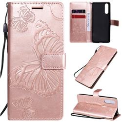 Embossing 3D Butterfly Leather Wallet Case for Sony Xperia 10 II - Rose Gold