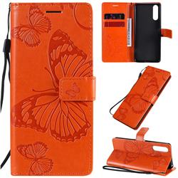 Embossing 3D Butterfly Leather Wallet Case for Sony Xperia 10 II - Orange