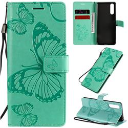 Embossing 3D Butterfly Leather Wallet Case for Sony Xperia 10 II - Green