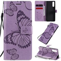 Embossing 3D Butterfly Leather Wallet Case for Sony Xperia 10 II - Purple