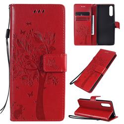Embossing Butterfly Tree Leather Wallet Case for Sony Xperia 10 II - Red
