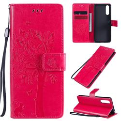 Embossing Butterfly Tree Leather Wallet Case for Sony Xperia 10 II - Rose