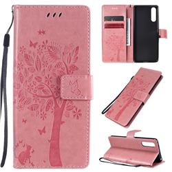 Embossing Butterfly Tree Leather Wallet Case for Sony Xperia 10 II - Pink