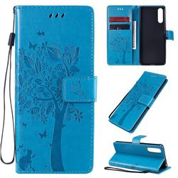 Embossing Butterfly Tree Leather Wallet Case for Sony Xperia 10 II - Blue