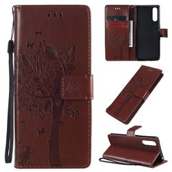 Embossing Butterfly Tree Leather Wallet Case for Sony Xperia 10 II - Coffee