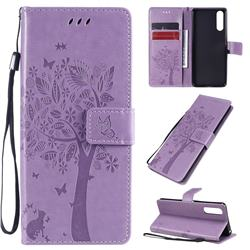 Embossing Butterfly Tree Leather Wallet Case for Sony Xperia 10 II - Violet