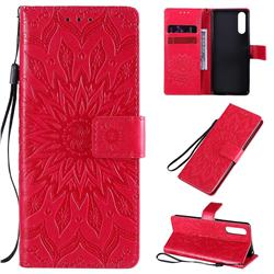 Embossing Sunflower Leather Wallet Case for Sony Xperia 10 II - Red