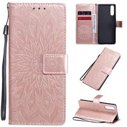 Embossing Sunflower Leather Wallet Case for Sony Xperia 10 II - Rose Gold
