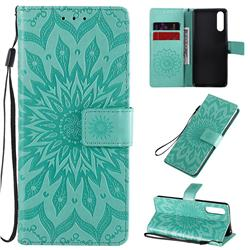 Embossing Sunflower Leather Wallet Case for Sony Xperia 10 II - Green
