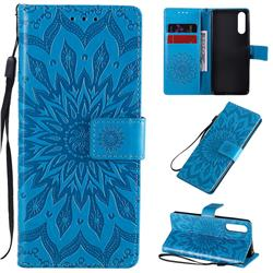 Embossing Sunflower Leather Wallet Case for Sony Xperia 10 II - Blue