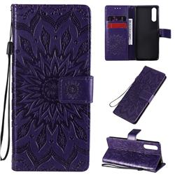 Embossing Sunflower Leather Wallet Case for Sony Xperia 10 II - Purple