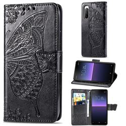 Embossing Mandala Flower Butterfly Leather Wallet Case for Sony Xperia 10 II - Black