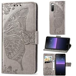 Embossing Mandala Flower Butterfly Leather Wallet Case for Sony Xperia 10 II - Gray