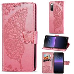 Embossing Mandala Flower Butterfly Leather Wallet Case for Sony Xperia 10 II - Pink