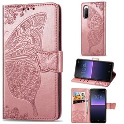 Embossing Mandala Flower Butterfly Leather Wallet Case for Sony Xperia 10 II - Rose Gold