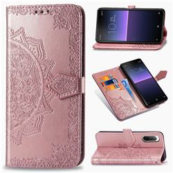 Embossing Imprint Mandala Flower Leather Wallet Case for Sony Xperia 10 II - Rose Gold