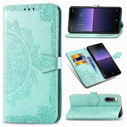 Embossing Imprint Mandala Flower Leather Wallet Case for Sony Xperia 10 II - Green