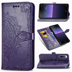 Embossing Imprint Mandala Flower Leather Wallet Case for Sony Xperia 10 II - Purple