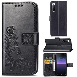 Embossing Imprint Four-Leaf Clover Leather Wallet Case for Sony Xperia 10 II - Black