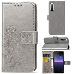 Embossing Imprint Four-Leaf Clover Leather Wallet Case for Sony Xperia 10 II - Grey