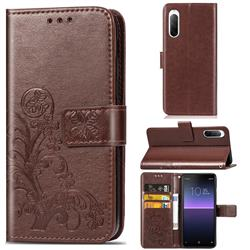 Embossing Imprint Four-Leaf Clover Leather Wallet Case for Sony Xperia 10 II - Brown