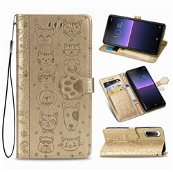 Embossing Dog Paw Kitten and Puppy Leather Wallet Case for Sony Xperia 10 II - Champagne Gold