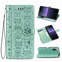 Embossing Dog Paw Kitten and Puppy Leather Wallet Case for Sony Xperia 10 II - Green