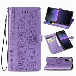 Embossing Dog Paw Kitten and Puppy Leather Wallet Case for Sony Xperia 10 II - Purple