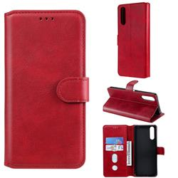 Retro Calf Matte Leather Wallet Phone Case for Sony Xperia 10 II - Red