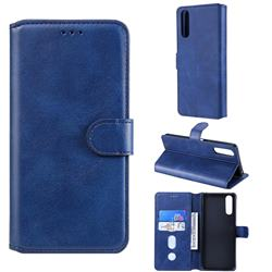 Retro Calf Matte Leather Wallet Phone Case for Sony Xperia 10 II - Blue