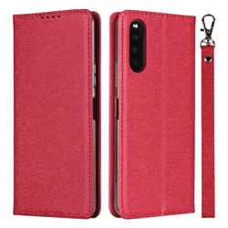 Ultra Slim Magnetic Automatic Suction Silk Lanyard Leather Flip Cover for Sony Xperia 10 II - Red