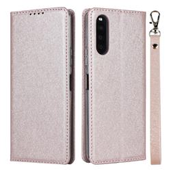 Ultra Slim Magnetic Automatic Suction Silk Lanyard Leather Flip Cover for Sony Xperia 10 II - Rose Gold