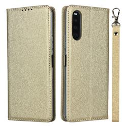Ultra Slim Magnetic Automatic Suction Silk Lanyard Leather Flip Cover for Sony Xperia 10 II - Golden