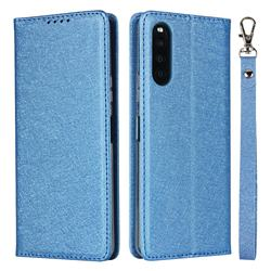 Ultra Slim Magnetic Automatic Suction Silk Lanyard Leather Flip Cover for Sony Xperia 10 II - Sky Blue