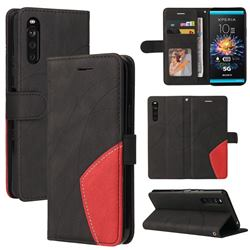 Luxury Two-color Stitching Leather Wallet Case Cover for Sony Xperia 10 III - Black