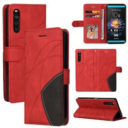 Luxury Two-color Stitching Leather Wallet Case Cover for Sony Xperia 10 III - Red