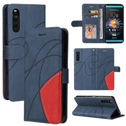 Luxury Two-color Stitching Leather Wallet Case Cover for Sony Xperia 10 III - Blue