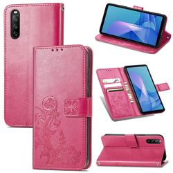 Embossing Imprint Four-Leaf Clover Leather Wallet Case for Sony Xperia 10 III - Rose Red