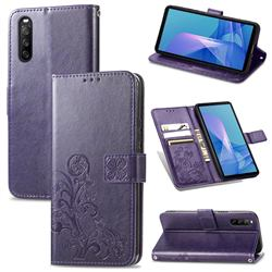 Embossing Imprint Four-Leaf Clover Leather Wallet Case for Sony Xperia 10 III - Purple