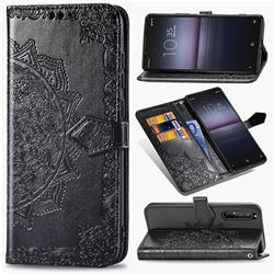 Embossing Imprint Mandala Flower Leather Wallet Case for Sony Xperia 1 II - Black