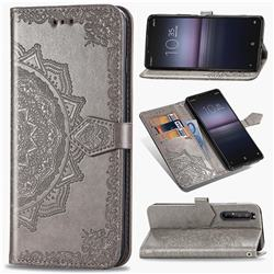 Embossing Imprint Mandala Flower Leather Wallet Case for Sony Xperia 1 II - Gray