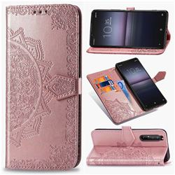 Embossing Imprint Mandala Flower Leather Wallet Case for Sony Xperia 1 II - Rose Gold