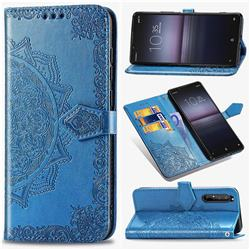 Embossing Imprint Mandala Flower Leather Wallet Case for Sony Xperia 1 II - Blue