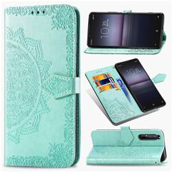 Embossing Imprint Mandala Flower Leather Wallet Case for Sony Xperia 1 II - Green